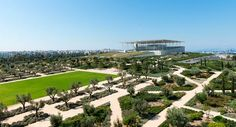 The Stavros Niarchos Park and the Buildings. Stavros Niarchos Foundation Cultural Center by Renzo Piano. Photograph © Yiorgis Yerolym, courtesy of Renzo Piano and Stavros Niarchos Foundation. Renzo Piano, Stavros Niarchos, Portal, Greece Design, Famous Architects, Cultural Center, Athens Greece, Dezeen, Culture