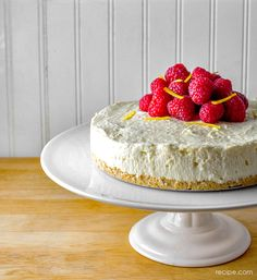 Add blueberries to this lemon and raspberry cheesecake to make this a patriotic dessert for Memorial Day or the Fourth of July.