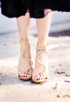 DIY- Gold snake serpent sandals.