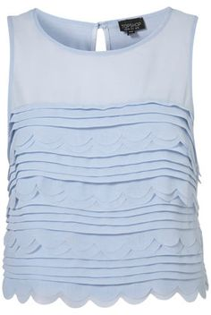 Topshop Pleat Scallop Cropped Shell. would be cute with white shorts!