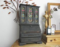 Very Large Vintage Rustic Arts & Crafts Style Jewellery Cabinet in Graphite with William Morris Style Fabric Graphite Chalk Paint, Painted Jewelry Boxes, Large Jewelry Box, Jewelry Cabinet, Cushion Ring, Rustic Art, William Morris, Oxford, Shabby