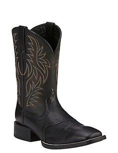 Men&39s black square toe cowboy boots crocodile alligator tail