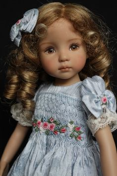 """Smocked & Embroidered Silk Outfit for Dianna Effner's 13"""" Little Darling Dolls"""