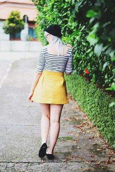 Mustard and stripes | Cute outfit by Jess Vieira