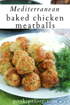 Mediterranean Baked Chicken Meatballs make a quick and easy dinner any night of the week. Perfect for meal prepping or making ahead!  #chickenmeatballs #meatballrecipe #mediterraneanmeatballs #mealprep #makeaheadmeals Quick Pasta Recipes, Easy Casserole Recipes, Healthy Chicken Recipes, Easy Healthy Recipes, Lunch Meal Prep, Healthy Meal Prep, Easy Healthy Dinners, Baked Chicken Meatballs, Quick Cheap Meals