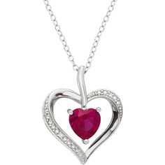 Sterling Silver Lab-Created Ruby & Diamond Accent Heart Pendant... (€27) ❤ liked on Polyvore featuring jewelry, necklaces, red, sterling silver pendant necklace, heart pendant necklace, chain necklaces, ruby necklace and red pendant necklace