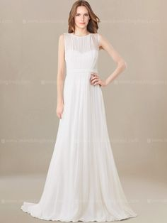 Chiffon wedding dress features a sleeveless bateau neckline along with vertical pleating, adding the perfect amount of coverage. Plunging V back is for a romantic look. The elegant A-line skirt gracefully flows to the floor while the back of this dress is complete with a zipper back closure.