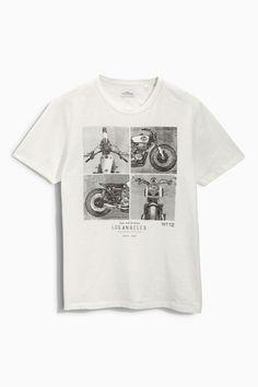 Buy Ecru Slub Motorbike Graphic T-Shirt from the Next UK online shop
