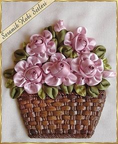 Wonderful Ribbon Embroidery Flowers by Hand Ideas. Enchanting Ribbon Embroidery Flowers by Hand Ideas. Ribbon Embroidery Tutorial, Silk Ribbon Embroidery, Rose Embroidery, Learn Embroidery, Embroidery Stitches, Embroidery Patterns, Ribbon Art, Diy Ribbon, Ribbon Crafts
