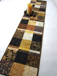 Brown, Black and Gold Batik Table Runner