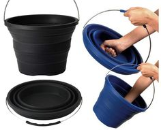 Introducing the Pack-Away Bucket! To go from packed to full size, all you need to do is push down on the bottom of the bucket while pulling at the handle.  You can also punch it if you're in an aggro mood this morning.  Oh yeah, it can also be used as a basin or even a dog bowl when folded down, so it's quite the versatile household item.