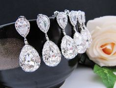10% OFF SET of 4 Wedding Jewelry Bridesmaid Jewelry Bridal Earrings Bridesmaid Earrings Clear White Swarovski Crystal Tear drops Earrings. $100.08, via Etsy.