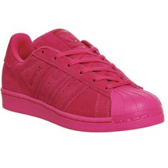 Adidas Superstar 1 ($58) ❤ liked on Polyvore featuring shoes, eqt pink mono, trainers, unisex sports, adidas footwear, sports shoes, unisex shoes, pink shoes and sports footwear