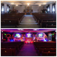 Great week, sharing the Gospel with the families around Clearbrook, VA here's a before/after shot of our invasion at Woodbine Assembly of God #AlienChurchMakeover #KidzturnChurchMakeover