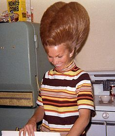 Crazy vintage hair. When the Ginger Bees started making homemade Ginger Snaps. Yum!