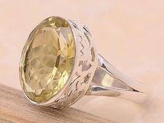 Lemon Quartz .925 Sterling Silver Jewelry Ring Size 8