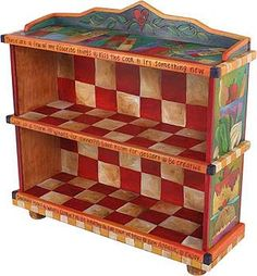 Painted Sticks bookcase - red + white checkerboard