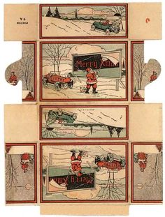 Auctiva Image Hosting Christmas Scenes, Christmas Paper, Retro Christmas, Christmas Projects, Holiday Fun, Xmas, Miniature Crafts, Miniature Christmas, Vintage Cards