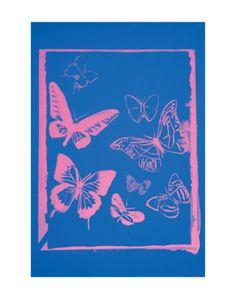 Vanishing Animals: Butterflies, c.1986 (Hot Pink on Blue) Art Print