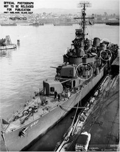 Forward plan view of the USS O'Bannon (DD 450) at Mare Island on 6 Jan 1944. She was in overhaul at Mare Island from 19 Nov 43 until 11 Jan 44