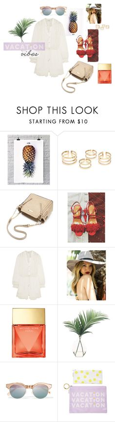 """""""I need to go somewhere tropical"""" by itsmealexia ❤ liked on Polyvore featuring La Pina, Zimmermann, Michael Kors, NDI, Le Specs, BaubleBar and Urban Outfitters"""
