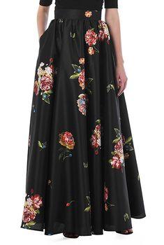Floral print dupioni maxi skirt #eShakti
