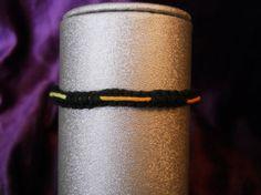 Black Hemp Bracelet w/Neon Cord by PeaceLoveNKnottyHemp on Etsy, $5.00