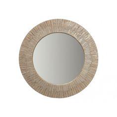 "Round Sun-Ray Mirror 24"" - Capiz Seashell $225"
