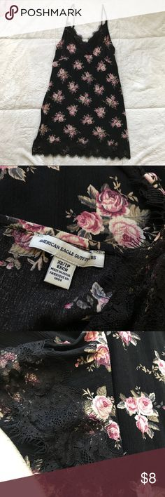 Lace Trim Black Floral AEO Dress NEVER WORN!!! V-neck style with thin straps. Cute black lace trim. Perfect for spring and summer!   ALL OF MY PROFITS WILL HELP FUND MY SCHOOL TRIP TO NICARAGUA :) Dresses Mini