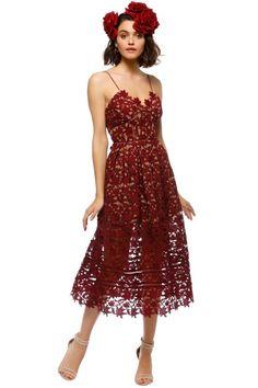 566cda1021d5 Hire Designer Dresses for Formal, Wedding, Cocktail events. Burgundy Midi  DressLace Midi DressRent Designer DressesSelf Portrait ...