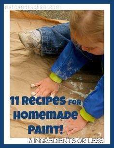 11 Super Simple Homemade Paint Recipes--6 are completely edible. Perfect for babies and toddlers!