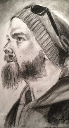 Opie Winston Sons of Anarchy - charcoal portrait drawing - realistic portrait drawing
