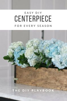 Learn how to make your own wood DIY planter boxes to then display flowers! We built this from scrap wood and then filled the inside with mason jars to showcase hydrangeas. It's a great piece to put on your dining room table for the everyday!