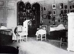 Anastasia and Marias Bedroom.   Maria and Anastasias Bedroom was next door to their sisters. It was very similar in style, except the frieze in this room showed butterflies in roses stenciled above gray-painted walls. It was also slightly larger than that of their older sisters. Anastasia and Marias bedroom did not have a doorway to the hall, so the first thing t
