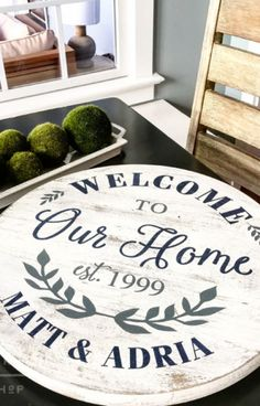 Welcome To Our Home Wood Round Sign or Lazy Susan Wood Signs For Home, Diy Wood Signs, Home Signs, Family Wood Signs, Pallet Signs, Welcome Signs Front Door, Welcome Wood Sign, Front Door Decor, Welcome Home