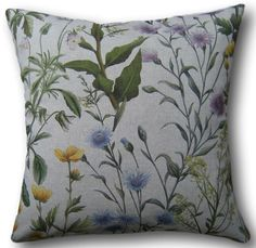 Designer Cushion Covers made in Clarke & Clarke Buttercup Linen Yellow Blue Gree Yellow Cushions, Floral Cushions, Blue Pillows, Cushion Covers Uk, Cushion Cover Designs, Sofa Throw