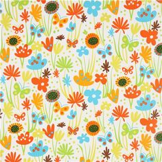 white flower and butterfly fabric by Robert Kaufman