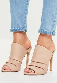 Pink Ruched Open Toe Heeled Mules