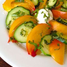 Heirloom Tomato and Cucumber Salad with Goat Cheese
