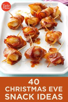 40 Christmas Eve Snack Ideas - - Festive favorites meet clever twists on classic holiday snacks. Holiday Snacks, Christmas Snacks, Christmas Appetizers, Christmas Cooking, Party Snacks, Appetizers For Party, Holiday Recipes, Appetizer Ideas, Parties Food