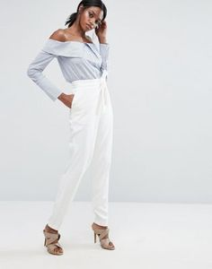 Lavish Alice Tailored Pant With Wrap Over Tie Detail