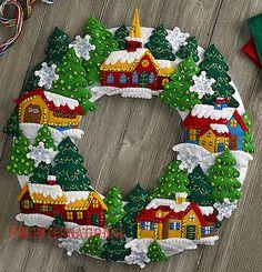 Bucilla Snow Village Wreath ~ Felt Christmas Home Decor Kit #86686, Church Trees
