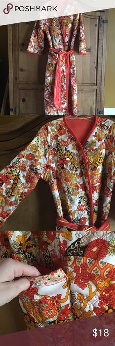 vintage kimono robe excellent used vintage condition + geisha pattern + orange & yellow + reversible tie - a thick quilted fabric + has been in storage so smells like vintage - *not anthropologie* Anthropologie Intimates & Sleepwear Robes