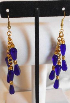 BEAUTIFUL COBALT BLUE AND GOLD COLORED GLASS EARRINGS #Handmade #MULTIDROPDANGLE