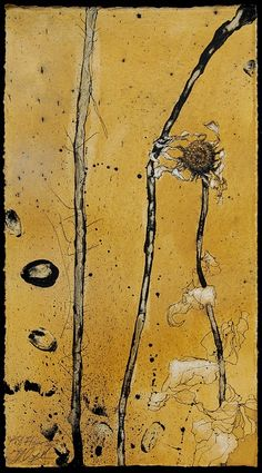Helen Gotlib - Fall Flower II (2008) Fall Flowers, Dried Flowers, Animal Paintings, Flower Paintings, Plant Painting, A Level Art, Plant Illustration, Abstract Images, Botanical Art