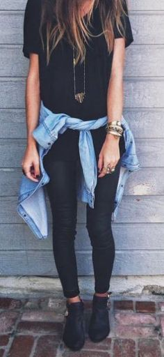 casual style addiction / shirt + black skinnies + denim shirt + sneakers
