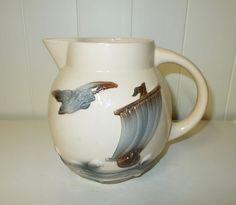 Seagulls and Sailboats // Ceramic Majolica Water Jug by Digoin Sarreguemines…