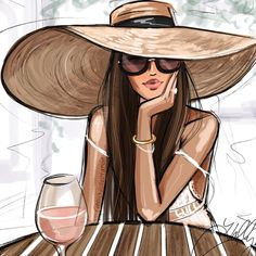 "The temperature says ""pass the thermals"" but my mind says ""pass the Rosé"". Fashion Artwork, Fashion Design Drawings, Fashion Wall Art, Fashion Sketches, Dress Sketches, Drawing Fashion, Fashion Painting, Portrait Vector, Digital Portrait"