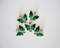 Sterling Silver Emerald Green Guilloche Enamel by mynameisbetina