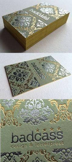 Vintage Damask Wallpaper Inspired Hot Foil Stamped Business Card Design